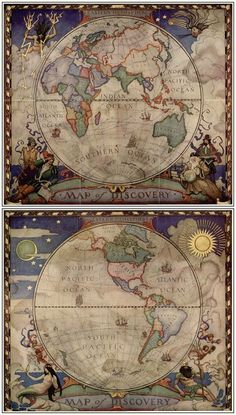 "►Literature: Borges´ ""Tlön, Uqbar, Orbis Tertius"": ""Fictional Universes and their effects on Reality"".- - Maps of Eastern & Western Hemispheres by N. Wyeth for National Geographic, 1928 Vintage Maps, Vintage Diy, Antique Maps, Antique World Map, Old World Maps, Old Maps, Nc Wyeth, Map Globe, Historical Maps"