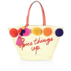 Kate Spade New York Lewis Way Large Pom Marketa Straw Tote ($298) ❤ liked on Polyvore featuring bags, handbags, tote bags, kate spade purses, straw tote bags, hand bags, white tote bag and white purse