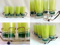 Vtg Set of 8 Drinking Glasses Highballs w Bar Caddy MCM Retro Chartreuse Green  | eBay