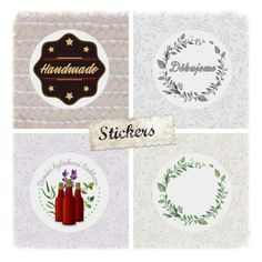 Kulaté samolepky - různé motivy (Round stickers - various designs) Round Stickers, Place Cards, Place Card Holders, Create, Artwork, Design, Round Labels, Work Of Art, Auguste Rodin Artwork
