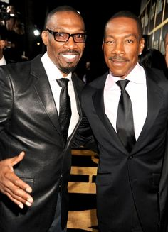 Comedians and brothers Charlie Murphy with his younger brother EddIe Murphy Sadly Charlie who was only died Wednesday April 2017 of leukemia. The Comedian, Black Actors, Black Celebrities, Celebs, Actors Male, Celebrity Siblings, Vintage Black Glamour, Eddie Murphy, Handsome Black Men