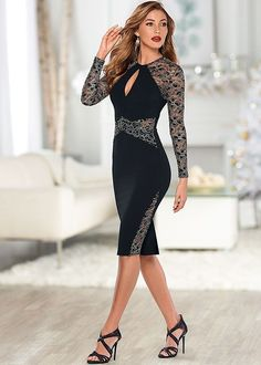 Venus Women's Lace Detail Bodycon Dress - Black/neutral, Size L