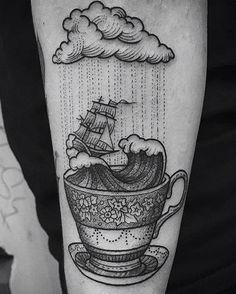#teacup #waves #clouds #rain #ship #arm #tattoo #skin #ink #art