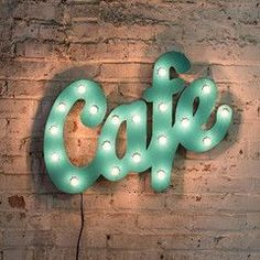Marquee Word Signs - Aqua Metal Cafe Marquee Sign With Lights