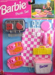 Barbie PICNIC Set - Playset w Barbecue & Grill, Food & MORE! (1993 Arcotoys, Mattel) by Arcotoys, Mattel. $39.95. Includes: Barbeque & Grill, Steak, Hamburgers, Cooler w/Lid, Turner Fork, Slotted Turner, Plate, Soda Bottle, Boombox, 2 Platters w/Pretend Food & Utensils (molded) & Sports Bottle w/Handle.. For ages 3+ years. All provided sizes, colors & descriptions are to the best of my ability & may not be exact, & may vary.. For Package Condition see CONDITION NOTE or Em...