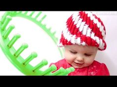 How to make a Peppermint Twist Beanie Hat on a Round Loom - YouTube