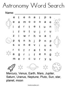 Astronomy Word Search Coloring Page