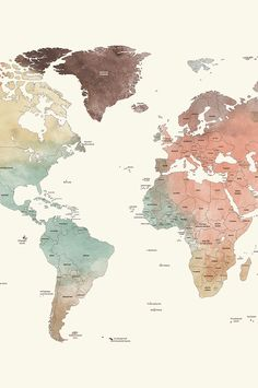 World Watercolor Map Printable File Jpeg Download And Print Any