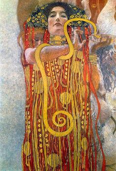 This detail from Klimt's Medicine shows the figure of Hygeia, the mythological daughter of the god of medicine. Klimt was loyal to traditional depictions of the goddess, providing her with a snake and the cup of Lethe. However, above Hygeia, Klimt painted a large column of light, and placed on either side several nude figures and, most notably, a skeleton to symbolize Death.