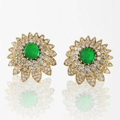 Van Cleef & Arpels Emerald, Diamond and Gold Chrysanthemum Earrings, Circa 1980's. Macklowe Gallery at the Winter Antiques Show