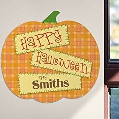 "Personalized Halloween Pumpkin Sign, 11.5"", Hanging Tabs Included"