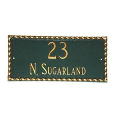 Montague Metal Products Franklin Rectangle Address Plaque Finish: Sea Blue / Gold, Mounting: Wall