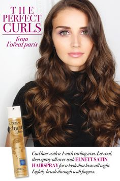 Red carpet curls are within your reach with Elnett Satin Hairspray from L'Oréal Paris. Simply curl hair with a 1-inch curling iron. Let cool, then spray all over with Elnett Satin Hairspray for a look that lasts all night. Lightly brush through with fingers to finish.