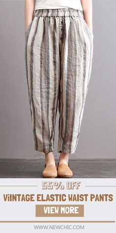 """"""""""" [Up to off]Plus size.Vintage Striped Elastic Waist Pants with Pockets.Loose … """""""" [Up to off]Plus size.Vintage Striped Elastic Waist Pants with Pockets.Loose and Casual. Hijab Style, Linen Trousers, Elastic Waist Pants, Pants For Women, Clothes For Women, Pants Pattern, Sport Pants, Fashion Pants, Blouse Designs"""