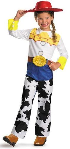 Jessie Girl's #Costume from the movie Toy Story includes, printed bodysuit with attached  chaps  and character hat.