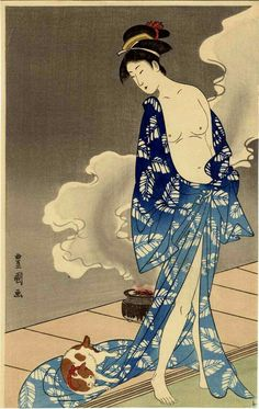 Japanese Ukiyo-e Woodblock print Toyokuni Woman with a Japanese Cat, Japanese Culture, Japanese Bobtail, Art And Illustration, Illustrations, Samurai, Arte Latina, Art Asiatique, Japanese Painting