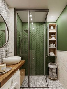 If you have a small bathroom in your home, don't be confuse to change to make it look larger. Not only small bathroom, but also the largest bathrooms have their problems and design flaws. Bathroom Wallpaper, Bathroom Colors, Bathroom Ideas, Green Bathrooms, Luxury Bathrooms, Small Bathrooms, House Layouts, Bathroom Interior Design, Home Remodeling