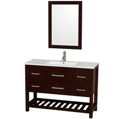 Wyndham Collection Natalie  48-inch White PorcelaTop Int. Sink and 24-inch Mirror Single Bathroom Vanity
