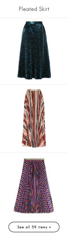 """Pleated Skirt"" by jckyleeah ❤ liked on Polyvore featuring pleatedskirt, skirts, prada, blue, high waisted skirt, high-waisted flared skirts, pleated flare skirt, blue skirt, knee length pleated skirt and bottoms"