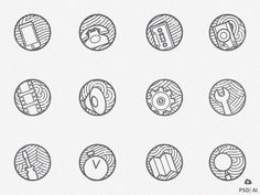 Zen icons vol 2: Free Set of 12 minimal outline Icons  by Oxygenna