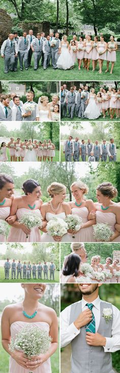 blush and teal bridal party - bee photographie