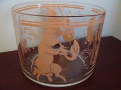 Pink Musical Pigs glass Ice Bucket 1940s Hazel by TheClassyLady, $50.00