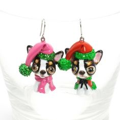 Chihuahua Earrings Dog Lover Jewelry Christmas Gift Handmade 00050 | madamepomm - Pets on ArtFire