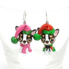 Chihuahua Earrings Dog Lover Jewelry Christmas Gift Handmade 00050 | madamepomm - Pets on ArtFire