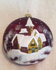Hand-Painted-Ukrainian-Christmas-Ornament-Red-Village