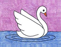This tutorial will teach you how to draw a swan that keeps their very graceful look. Draw lightly so the whites stay white! Drawing Classes For Kids, Easy Drawings For Kids, Art For Kids, Basic Drawing For Kids, Pencil Art Drawings, Cute Drawings, Drawing Projects, Art Projects, Swan Drawing