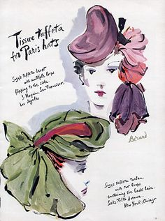Suzy (Millinery) 1940 Beret Turban, Christian Berard, Fashion Illustration