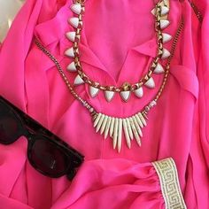 In love with this shade of hot pink. Regram from Chief Creative Officer @blythe.harris (And our White Stone Sutton is now back in stock!) #stelladotstyle #Necklace | Stella & Dot | Stella & Dot