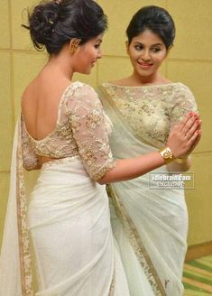 Bollywood Actresses Pictures Photos Images: South Indian Actress Anjali Show Bare Back Backless in Transparent Saree and Blouse Pictures Saree Blouse Patterns, Sari Blouse Designs, Designer Blouse Patterns, Designer Dresses, Saree Styles, Blouse Styles, Net Blouses, Blouse Models, Saree Dress