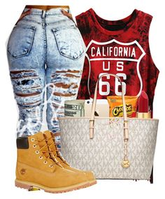 """""""california"""" by azaria0112 ❤ liked on Polyvore featuring FingerPrint Jewellry, Isaac Mizrahi, MICHAEL Michael Kors and Timberland"""