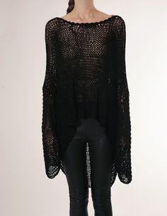 loose black knit & asymmetrical hem