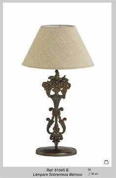 """Lámpara de Sobremesa """"Barroco"""". 55xØ30cm. www.forjanatura.com"""