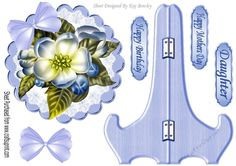 Pretty blue flower on lace with  bow, plate and stand, makes a lovely keepsake