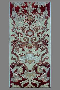 Pair of vertical panels Date: early 17th century Culture: Italian Medium: Silk and metal thread Accession Number: 69.255.1–.2