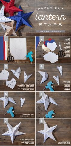 Free Downloadable Printable Template Paper Star Lights Garland (For use with string lights) | liagriffith.com