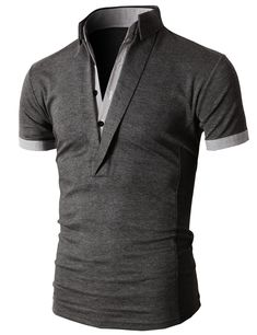 LOVE THIS! Doublju Men's Unique Hybrid Fashion Polo Shirts with Short Sleeve (KMTTS0102) #doublju