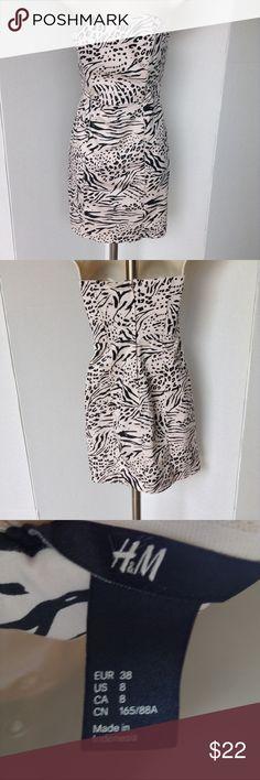 H&M STRAPLESS DRESS Light pink and black cheetah print strapless dress H&M Dresses Strapless