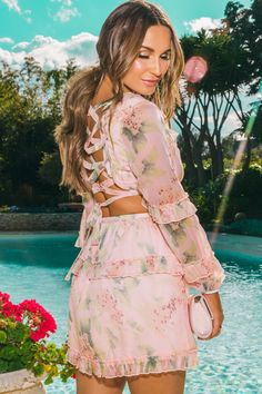 Sam Faiers Chiffon Floral Lace Up Dress - Quiz Clothing Floral Chiffon, Floral Lace, Lace Up, Sam Faiers, Pop Fashion, Casual Dresses For Women, Spring Summer Fashion, Dresses Online, Celebrity Style