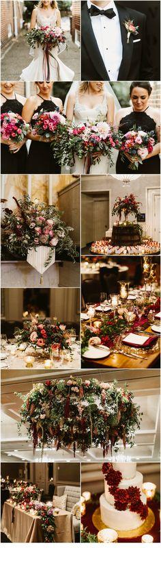 Philadelphia Wedding Florist - A Garden Party Florist - Pat Furey Photography - The Logan Hotel - Kyle Michelle Weddings - red wedding flowers - burgundy wedding flowers - gold accents - greenery - floral chandelier