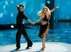 """Paul Karmiryan and all-star dancer Witney Carson perform a Cha Cha routine to """"Live It Up"""" choreographed by Jean-Marc Genereux on 8/13/13."""