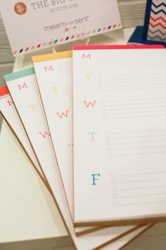National Stationery Show 2013, Part 9 - perforated weekly to-do list notepads by Meant To Be Sent
