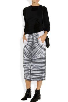 Raquel Allegra | Tie-dyed cotton-blend jersey midi skirt | NET-A-PORTER.COM