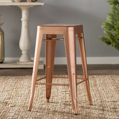 """Louisa 26.5"""" Bar Stool - With it's industrial retro look, the galvanized steel counter stool with non-marking plastic feet is great for indoor or outdoor use. These stools are stackable."""