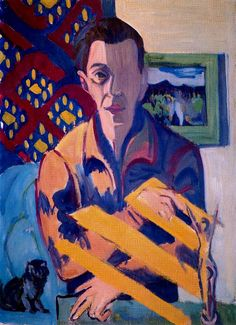 Self-Portrait Artist: Ernst Ludwig Kirchner Completion Date: 1931 Style: Expressionism Genre: self-portrait Technique: oil Material: canvas Dimensions: 84 x 61 cm