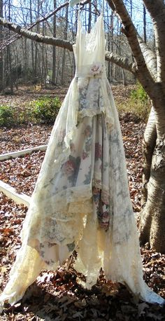 Lace floral dress wedding tulle romantic boho by vintageopulence