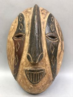 African Art Igbo Mask is from Nigeria, dimension is 13.5 inches high x 9.5 inches wide.